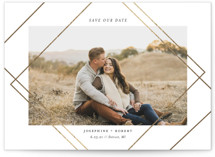 This is a white foil stamped save the date card by Genna Cowsert called Intersect with foil-pressed printing on smooth signature in standard.