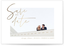 This is a brown foil stamped save the date card by fatfatin called Classy Love with foil-pressed printing on smooth signature in standard.