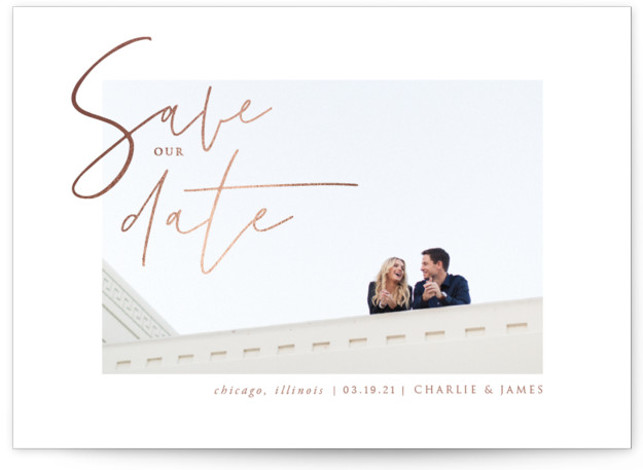 This is a brown Save the Dates by fatfatin called Classy Love with Foil Pressed printing on Signature in Classic Flat Card format. A minimalist save the date card featuring a full bleed photo, modern handwriting script and a simple ...