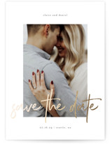 This is a white foil stamped save the date card by Kelly Schmidt called Together Always with foil-pressed printing on smooth signature in standard.