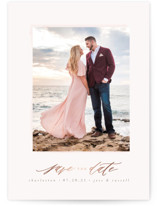 This is a pink foil stamped save the date card by Lori Wemple called Dreamy Day with foil-pressed printing on smooth signature in standard.