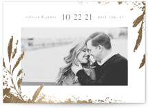 This is a grey foil stamped save the date card by Robert and Stella called Gilded Botanicals with foil-pressed printing on smooth signature in standard.