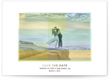 This is a green foil stamped save the date card by Jenn Johnson called Color My World with foil-pressed printing on smooth signature in standard.