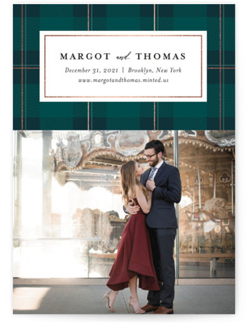 This is a green Save the Dates by Jessica Corliss called Plaid about love with Foil Pressed printing on Signature in Classic Flat Card format. This photo save the date with foil features an elegant plaid pattern at the top ...