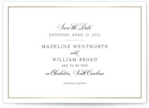 This is a black foil stamped save the date card by Toast & Laurel called Wentworth with foil-pressed printing on signature in standard.