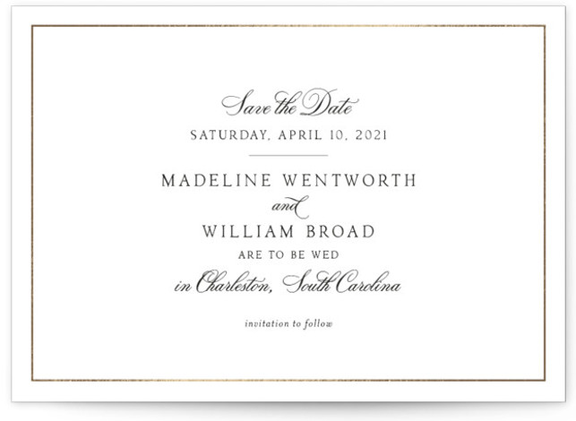 Wentworth Foil-Pressed Save The Date Cards