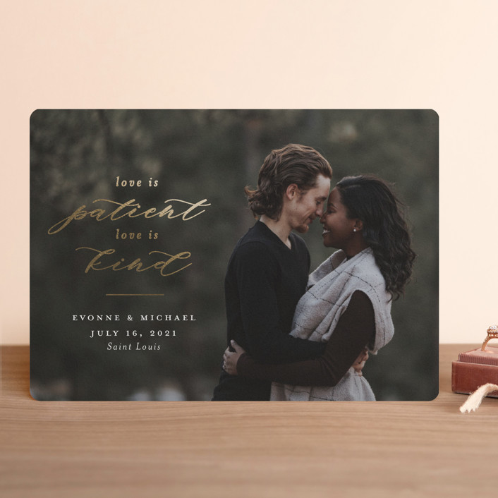 """""""Corinthian"""" - Classical, Minimalist Foil-pressed Save The Date Cards in Snow by Meagan Christensen."""