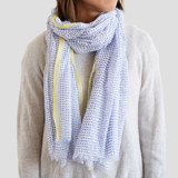 This is a blue sheer scarf by Ariel Rutland called Lake Dot Dash.