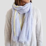 This is a blue sheer scarf by Ariel Rutland called Lake Dot Dash.
