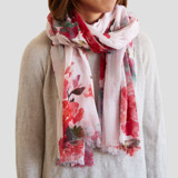 This is a pink sheer scarf by Lori Wemple called Floral Bouquet.