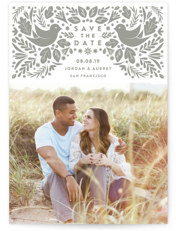 This is a portrait floral, rustic, vintage, grey, white Save the Dates by Jennifer Lew called Peace Doves with Letterpress printing on Luxury Cotton Paper in Classic Flat Card format. This letterpress design features illustrations of peace doves and laurels. ...