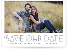 This is a green save the date by Amber Barkley called Modernist with letterpress printing on bright white letterpress paper in standard.