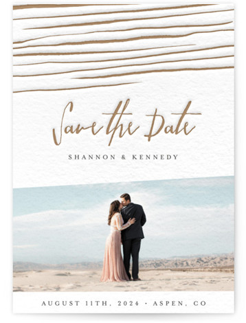 This is a portrait rustic, beige, brown, white Save the Dates by Belia Simm called Love Lines with Letterpress printing on Luxury Cotton Paper in Classic Flat Card format. A one photo letterpress Save the Date card featuring hand drawn ...