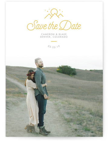 This is a portrait destination, modern, simple, white, yellow Save the Dates by Dana Beckwith called Outdoor with Letterpress printing on Luxury Cotton Paper in Classic Flat Card format. This 1 photo save the date announcement features a hint to ...