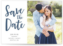 This is a blue save the date by Amy Payne called Relaxed with letterpress printing on bright white letterpress paper in standard.