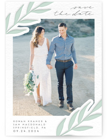 This is a portrait floral, modern, green, grey Save the Dates by Everett Paper Goods called Subtle Vines with Letterpress printing on Luxury Cotton Paper in Classic Flat Card format. This letterpress save the date card features simple, subtle foliage. ...