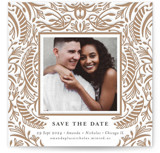 This is a beige save the date by Melanie Kosuge called DESPINA with letterpress printing on bright white letterpress paper in standard.