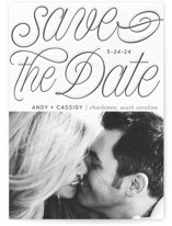 This is a grey save the date by Baumbirdy called SCRIPTED STACK with letterpress printing on bright white letterpress paper in standard.