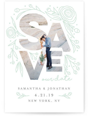 This is a portrait bold typographic, floral, green, grey Save the Dates by Belia Simm called Save Our Date Florals with Letterpress printing on Luxury Cotton Paper in Classic Flat Card format. A one photo letterpress Save the Date card ...
