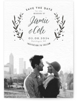 This is a grey save the date by Cass Loh called Simple Elegant with letterpress printing on bright white letterpress paper in standard.
