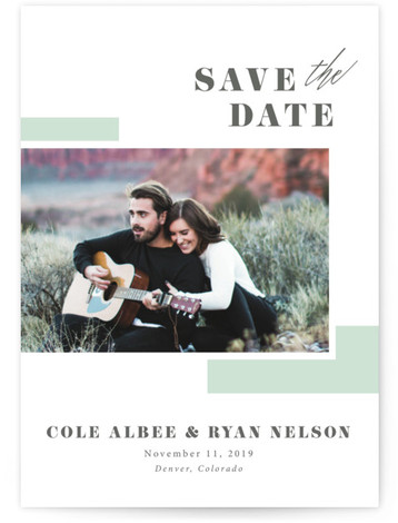 This is a portrait modern, green, grey Save the Dates by Jula Paper Co. called love me do with Letterpress printing on Luxury Cotton Paper in Classic Flat Card format. This photo save the date is the perfect blend of ...