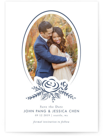 This is a portrait floral, rustic, blue Save the Dates by Angela Garrick called Blue Elegance with Letterpress printing on Luxury Cotton Paper in Classic Flat Card format. This 1 photo save the date features an elegant floral decor