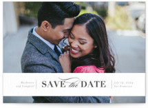 This is a grey save the date by Seven Swans called Eternally yours with letterpress printing on bright white letterpress paper in standard.