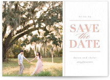 This is a grey save the date by Seven Swans called Romance in the air with letterpress printing on bright white letterpress paper in standard.
