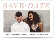 This is a pink save the date by Roxy Cervantes called Classic with letterpress printing on bright white letterpress paper in standard.