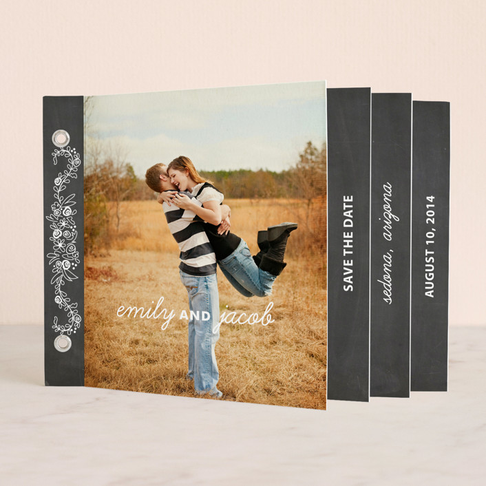 """""""Chalkboard"""" - Floral & Botanical Minibook Save The Date Cards in Chalkboard by SimpleTe Design."""