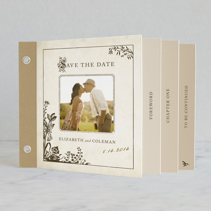 """""""Story Book"""" - Vintage Minibook Save The Date Cards in Winter Cream by Jody Wody."""