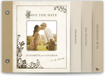 This is a brown save the date photo minibook card by Jody Wody called Story Book with standard printing on pearlescent in minibook.