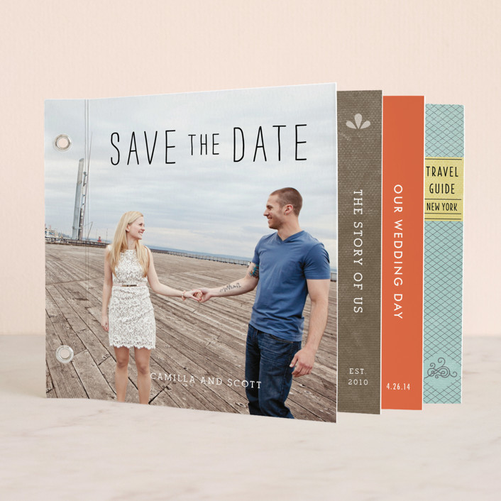 """""""Story Book Wedding"""" - Preppy, Whimsical & Funny Minibook Save The Date Cards in Old World by Tanya Lee of Frooted Design."""