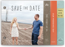 This is a orange save the date photo minibook card by Frooted Design called Story Book Wedding with standard printing on pearlescent in minibook.