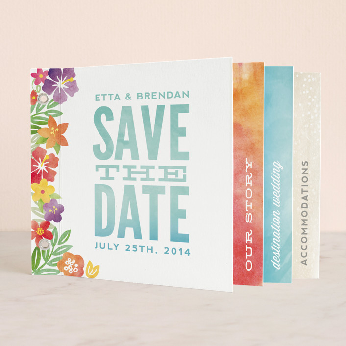 """""""Tropical Date"""" - Floral & Botanical Minibook Save The Date Cards in Clear Ocean by Hooray Creative."""
