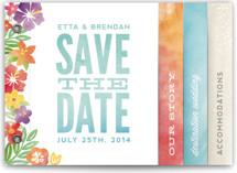 This is a blue save the date photo minibook card by Hooray Creative called Tropical Date with standard printing on pearlescent in minibook.