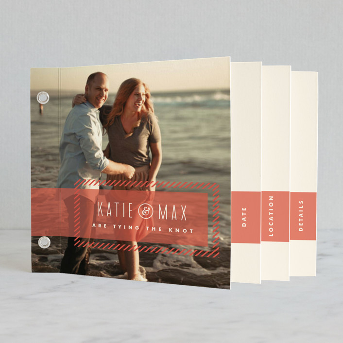 """""""Striped Banner"""" - Modern, Preppy Minibook Save The Date Cards in Berry by Carrie ONeal."""