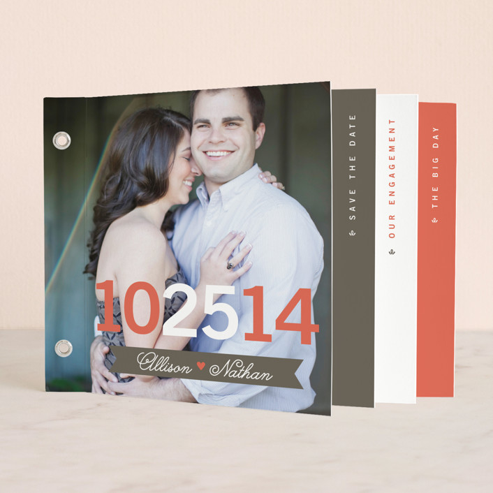 """""""The Big Event"""" - Whimsical & Funny Minibook Save The Date Cards in Vermillion by Amanda Larsen Design."""