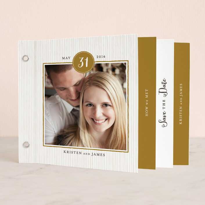 """""""Line Frame"""" - Classical Minibook Save The Date Cards in Gold by Roxy Cervantes."""
