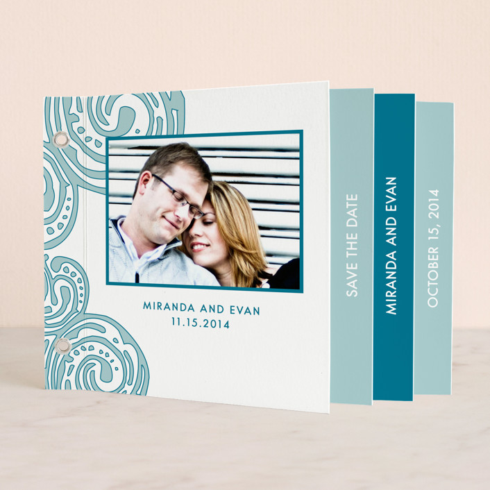 """""""Contemporary Chic"""" - Whimsical & Funny Minibook Save The Date Cards in Teal by Guess What Design Studio."""