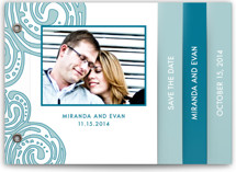 This is a blue save the date photo minibook card by Guess What Design Studio called Contemporary Chic with standard printing on pearlescent in minibook.