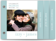 This is a blue save the date photo minibook card by Float Paperie called float + celebrate with standard printing on pearlescent in minibook.
