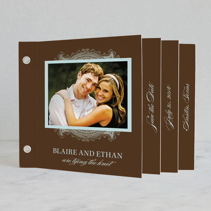 """""""Ornate"""" - Formal Minibook Save The Date Cards in Chocolate by Splendid Press."""