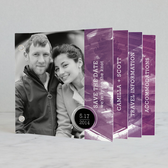 """Aurora"" - Modern Minibook Save The Date Cards in Amethyst by Paper Plains."