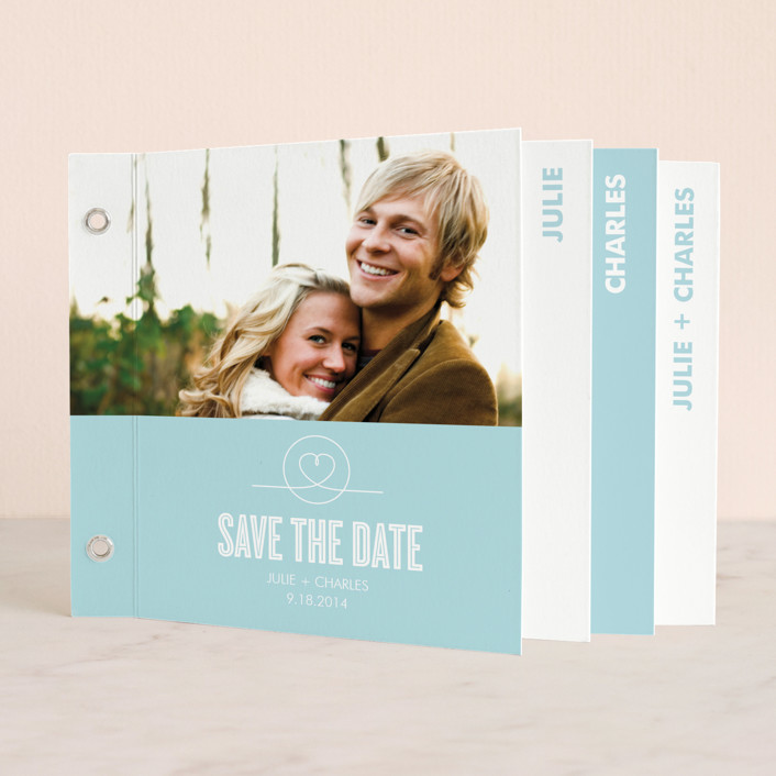 """""""Sweethearts"""" - Modern Minibook Save The Date Cards in Bright Sky Blue by Waui Design."""