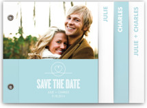 This is a blue save the date photo minibook card by Waui Design called Sweethearts with standard printing on strathmore in minibook.