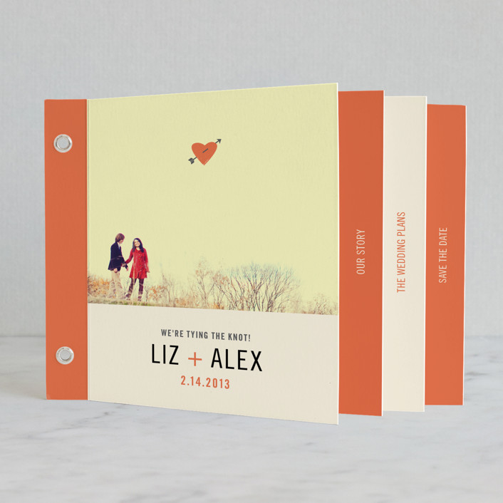 """Cupid's Arrow"" - Whimsical & Funny, Modern Minibook Save The Date Cards in Orange Coral by Katie Wahn."