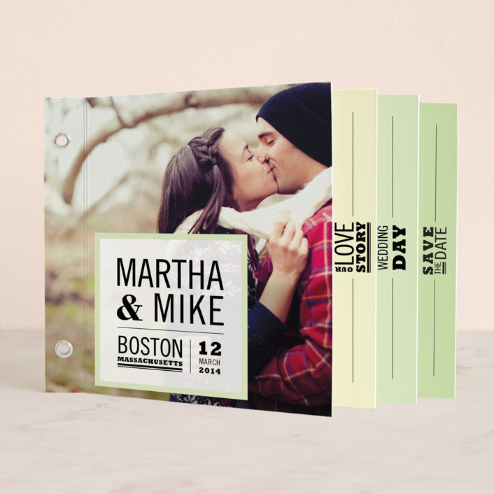 """""""Our Love Story"""" - Modern Minibook Save The Date Cards in Soft Green by Katie Wahn."""