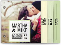 This is a green save the date photo minibook card by Katie Wahn called Our Love Story with standard printing on pearlescent in minibook.