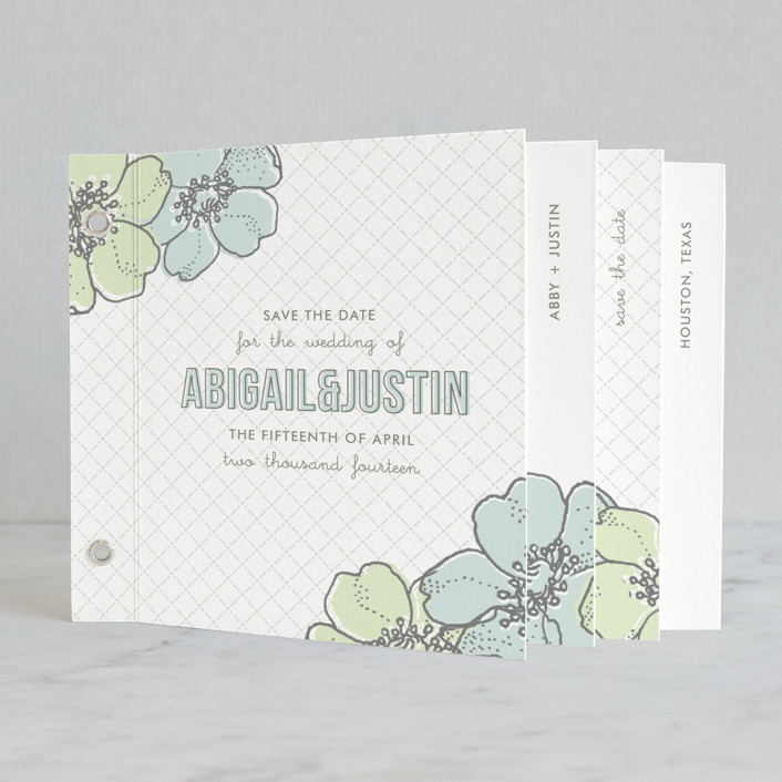 """""""Love in Bloom"""" - Floral & Botanical Minibook Save The Date Cards in Cloud Blue by Lauren Chism."""